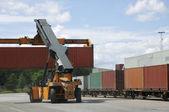 контейнеровозы внутри порт — Стоковое фото