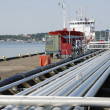 Pipelines and oil tanker — Stock Photo