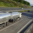 Fuel truck in motion — Stock Photo