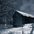 Old barn at night, snow and ice — Stock Photo #6656848
