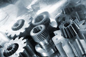 Gear wheels, titanium and steel — Stock Photo