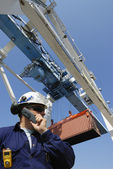 Container crane and worker — Stock Photo