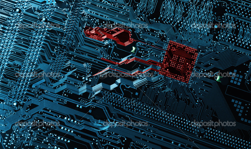 Motherboard in blue and red toning, digital highway concept — Stock Photo #6657415