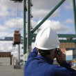 Worker directing container crane — Stock Photo #6740223