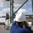 Stock Photo: Worker directing container crane
