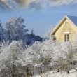 Yellow cottage in winter time — Stock Photo