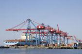 港口、 集装箱船、 起重机 — 图库照片