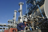 Oil and gas, refinery works — Stock Photo