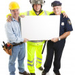 Workers Carrying Sign - Stock Photo