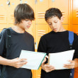 图库照片: Teen Boys Comparing Homework