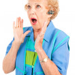 Cellphone Senior Woman - Shocking News — Stock Photo
