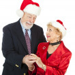 Romantic Senior Christmas Gift — Stock Photo