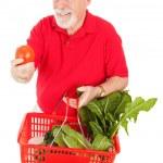 Senior Man Shops for Produce — Stock Photo #6511321