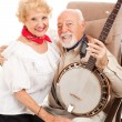 Country Seniors with Banjo — Stock Photo