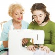 Family Sewing Lesson — Stock Photo