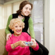 Gaming With Grandma — Stock Photo