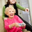 Grandma Loves Video Games — Stock Photo