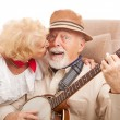 Kiss for Grandpa — Stock Photo