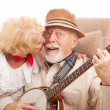 Stock Photo: Kiss for Grandpa