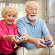 Senior Couple Play Video Games — Stock Photo