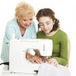 Sewing Help from Grandma — Stock Photo