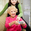 Teen Helps Grandma — Stock Photo