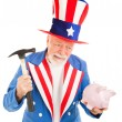 Uncle Sam Desperate for Cash — Stock Photo