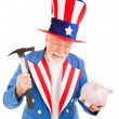 Uncle Sam Desperate for Cash - ストック写真