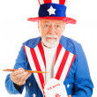 Uncle Sam Eats Chinese Takeout — Stock Photo