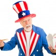 Stock Photo: Uncle Sam Eats Chinese