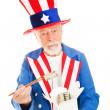 Uncle Sam Eats Dim Sum — Stock Photo