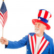 Uncle Sam Holds US Flag — Stockfoto