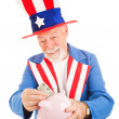 Uncle Sam Saving Money — Stock Photo