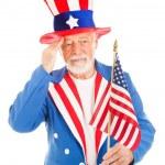 Uncle Sam Salutes America Flag — Stock Photo