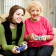 Video Game Fun with Grandma — Stock Photo