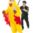 Stock Photo: Chicken Man on the Lam