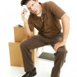 Exhausted Mover Takes a Break — Stock Photo