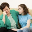 Teen Comforts Mother — Stock Photo