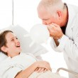 Boy Laughs at Doctor — Stock Photo