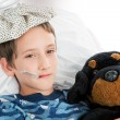 Little Boy Home Sick — Stock Photo