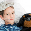 Stock Photo: Little Boy Home Sick