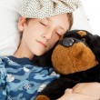 Sleeping Child with Cold — Stock Photo