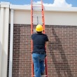 Stock Photo: Construction Worker on Ladder