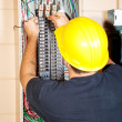 Electrician Replaces Breaker — Stock Photo