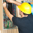Electrician Working on Electrical Panel — Stock Photo