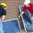 Stock Photo: Electricians Measure Solar Panels