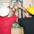 Journeyman Electricians Working - Foto de Stock  