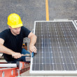 Solar Panel Repair with Copyspace - Stock Photo