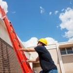 Worker Climbing Up — Stock Photo