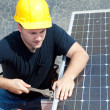 Working on Solar Panel — Stock Photo